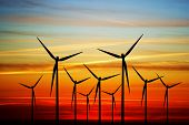 picture of windmills  - Windmill on the sunset - JPG