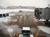 Winter snow storm at a major north american airport.