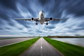 Airplane And Road With Motion Blur Effect poster