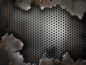 foto of ironworker  - crack metal grunge background with rivets - JPG