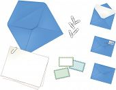 Blue Envelope Set in Open, Close, Front (with stamp and post mark), loose stamps, paper clips, and note cards.
