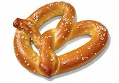 stock photo of pretzels  - View of a soft pretzel on white with shadow - JPG
