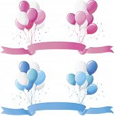 Baby blue and baby pink balloons and banner