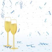 Champagne glasses on blue confetti reflective background