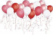 Red, pink and white party balloons