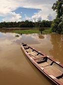 Boat in Amazon river lagoon