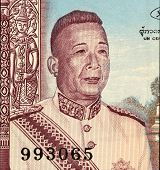 LAOS - CIRCA 1963: Savang Vatthana (1907-1978) on 50 Kip 1963 Banknote from Laos. The last king of t
