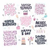 Birthday Hand Drawn Greeting Cards Set. Festive Vector Postcards With Lettering. Make A Wish, Happy  poster
