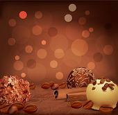 Vector romantic background with chocolates, coffee beans and cinnamon