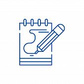 Diary Notes Line Icon Concept. Diary Notes Flat  Vector Symbol, Sign, Outline Illustration. poster
