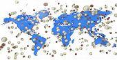 Euro money coins raining on blue world map