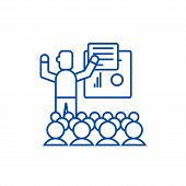Presentation, Meeting, Lecture Line Icon Concept. Presentation, Meeting, Lecture Flat  Vector Symbol poster