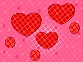 Pink background with decorative red hearts for love, Valentines Day and other occasion.