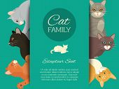 Cats Family Show Banner Grooming Or Veterinary Feline Flyer Vector Illustration. Cute Kitten Pet Pos poster