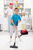 Clean up day - kids helping their mom doing chores
