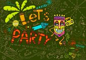 illustration of colorful tiki party card in doodle style