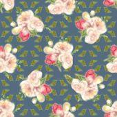 Aquarelle Floral Seamless Texture, Blur Flower Background. Fuzzy  Watercolor Botanical Illustration, poster