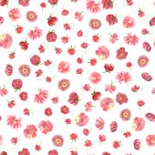 Fuzzy Watercolour Flower Seamless Wallpaper, Floral Background. Blured  Watercolor Botanical Illustr poster