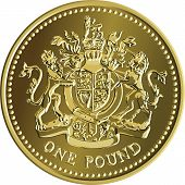 foto of unicorn  - British money gold coin one pound with the image of a heraldic lion unicorn shield and crown isolated on white background - JPG