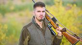 How Turn Hunting Into Hobby. Guy Hunting Nature Environment. Masculine Hobby Activity. Hunting Seaso poster