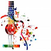 Colorful Guitar With Music Notes Isolated Vector Illustration Design. Music Background. Music Instru poster