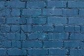 Background Of Dark Blue Brick Wall. Dark Blue Shabby Blank Space Architecture. Dark Blue Grunge Back poster