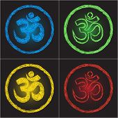 stock photo of shakti  - Hinduism religion symbol om on black background  - JPG