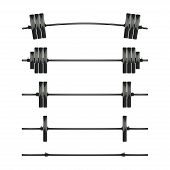 Set Of Barbells. Bodybuilding, Gym, Crossfit, Workout, Fitness Club Symbol. Weightlifting Equipment. poster