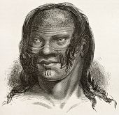 Barre indigenous old engraved portrait, Brazil. Created by Riou, published on Le Tour du Monde, Pari