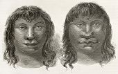 Miranha indigenous old engraved portraits, Brazil. Created by Riou, published on Le Tour du Monde, P