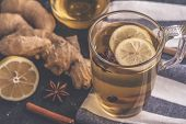 Toned Photo Of Tea With Ginger, Lemon And Honey. Hot Tea With Gonger And Lemon. Toned Photo poster
