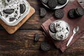 Ice Cream With Chocolate And Cream Sandwich Cookies. Cookies And Cream Homemade Ice Cream Dessert On poster