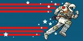 Astronaut Runs Forward. Stars Of The Universe. Pop Art Retro Vector Illustration Vintage Kitsch poster
