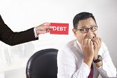 Young Asian Businessman Worried Afraid Of Debt, Man Feeling Frustrated Of Debt Deadline Concept poster