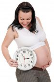 Pregnant belly with clock - isolated over a white background. Third trimester. poster