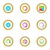 Circular Downloading Icons Set. Cartoon Set Of 9 Circular Downloading Icons For Web Isolated On Whit poster