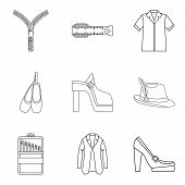 Elegant Clothes Icon Set. Outline Set Of 9 Elegant Clothes Icons For Web Design Isolated On White Ba poster