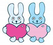 Lovers cartoon  rabbits