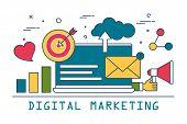 Digital Marketing Banner Design. Line Art Advertising. Internet Promotion In Social Media. Marketing poster