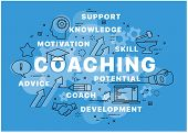 Banner Coaching Concept. Keywords And Pictogram. Can Be Used For Web Design, Presentation, Printed D poster