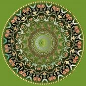 Greek Vector Colorful Round Mandala Pattern. Ornamental Background With Floral Baroque Ornaments. Ge poster