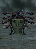 stock photo of medusa  - The mythological Medusa emerging from the water - JPG