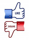 picture of dislike  - Illustration of the thumb up and thumb down hands - JPG