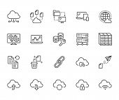 Cloud Data Storage Line Icons Set. Database, Information Storage, Server Center, Global Network, Bac poster