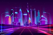 Modern City Highway In Street Lamps Light Neon Cartoon Vector Illustration, Three-way High Speed Mot poster