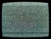 Static noise on CRT screen of de-tuned vintage TV set - lost signal background poster
