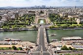 Paris Trocadero And River Seine Cityscape - Aerial View Of Capital City Of France. poster
