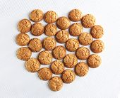 eart shaped cookies on white background