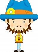 Cute Cartoon Hippie Character In Flower Hat poster