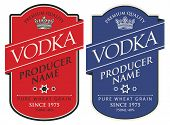 Set Of Two Vector Labels For Vodka In The Figured Frame With Crown And Inscriptions On Red And Blue  poster